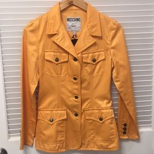 Moschino Jeans Yellow Button Up Lightweight Jacket